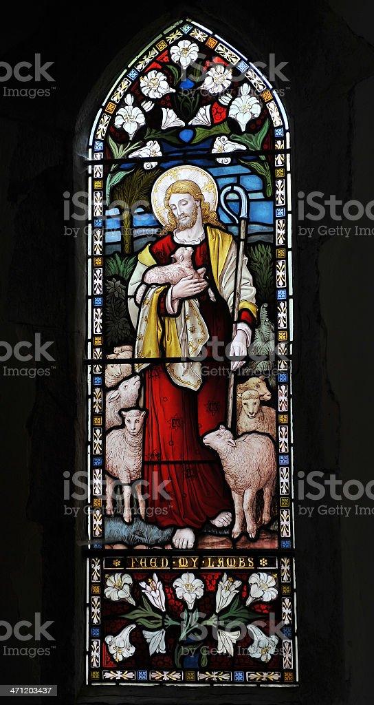 Lamb of God window stock photo