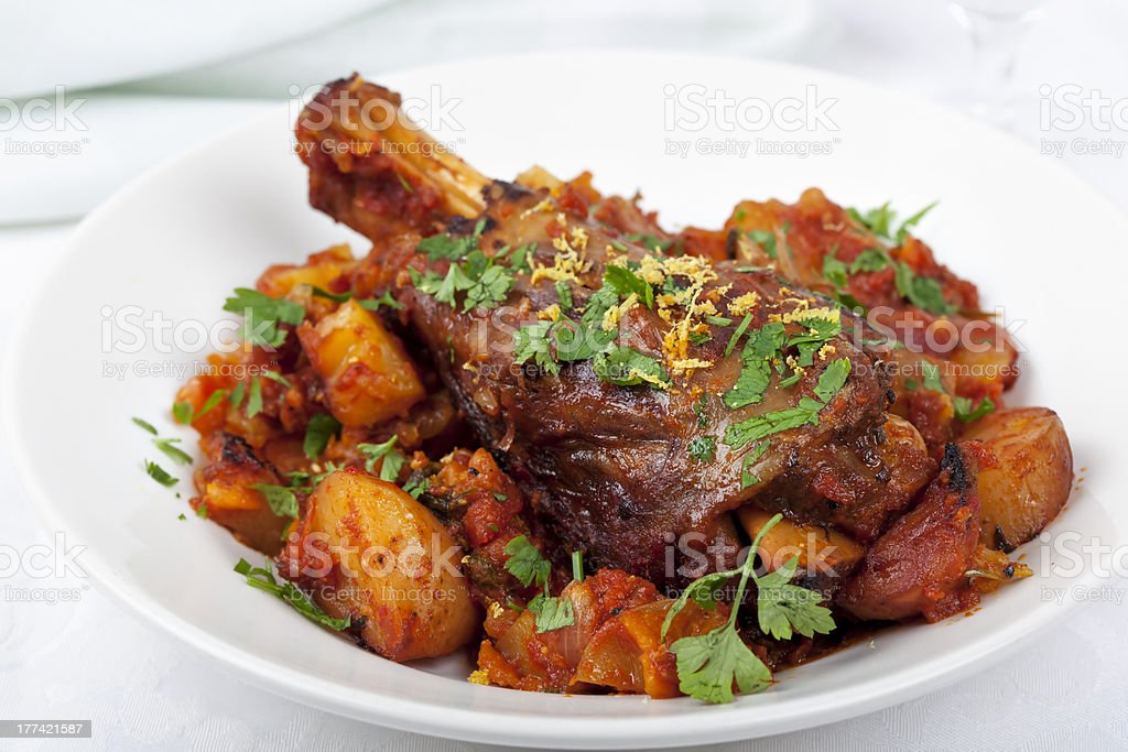 Lamb Shank Dinner stock photo