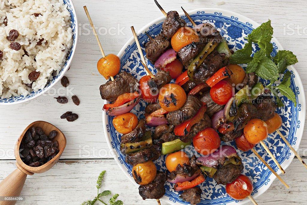 Lamb Shish Kabobs And Rice stock photo