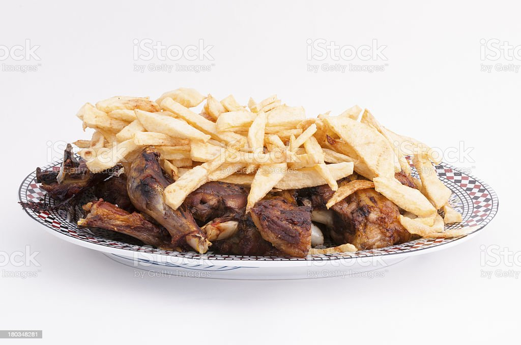 lamb skank with chips royalty-free stock photo