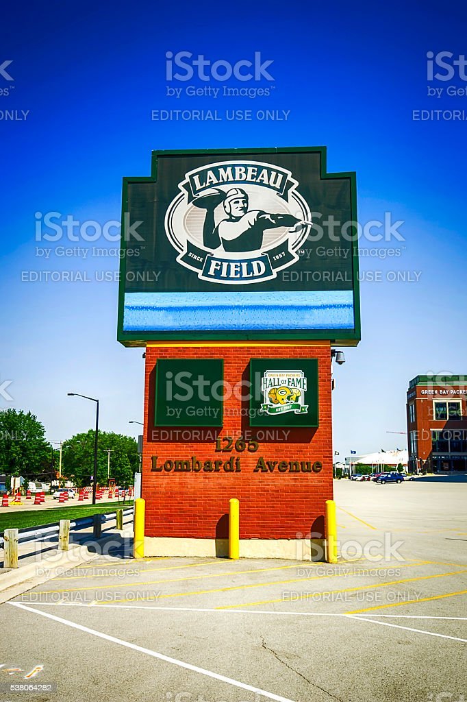 Lambeau Field stadium sign in Green Bay, Wisconsin stock photo