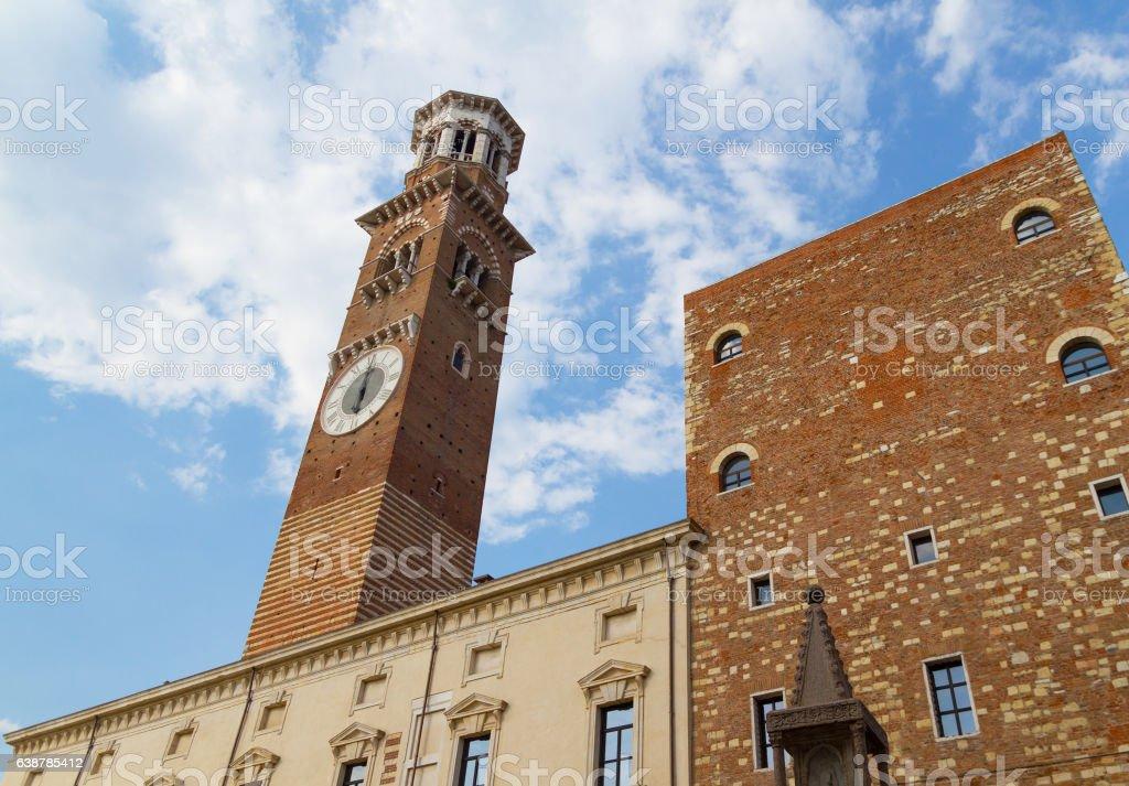 Lamberti tower in Verona, Italy stock photo