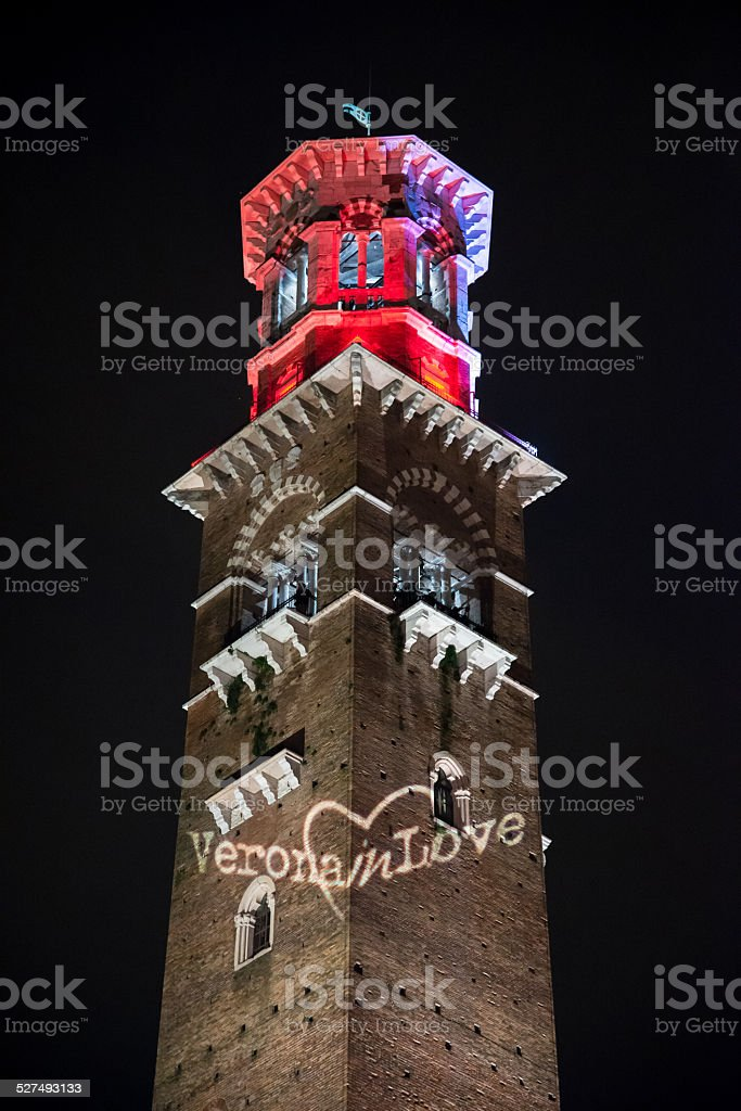 Lamberti Tower, Verona, Italy stock photo