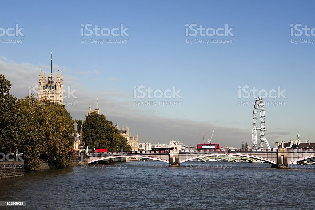 Lambeth Bridge and the Houses of Parliament stock photo