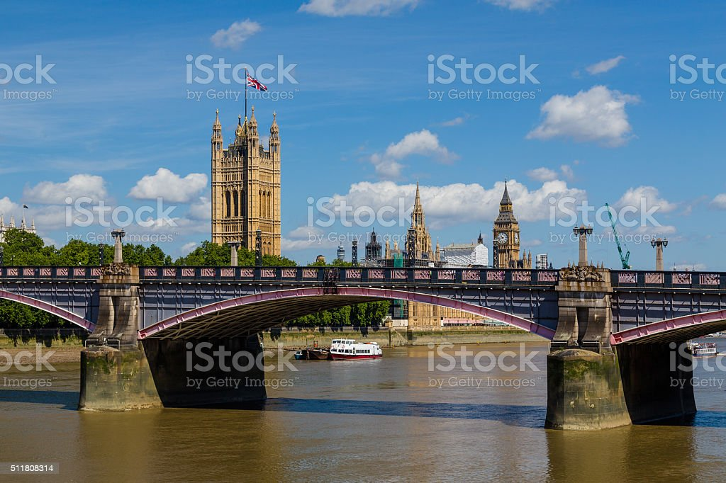 Lambeth Bridge and Westminster in the Summer stock photo