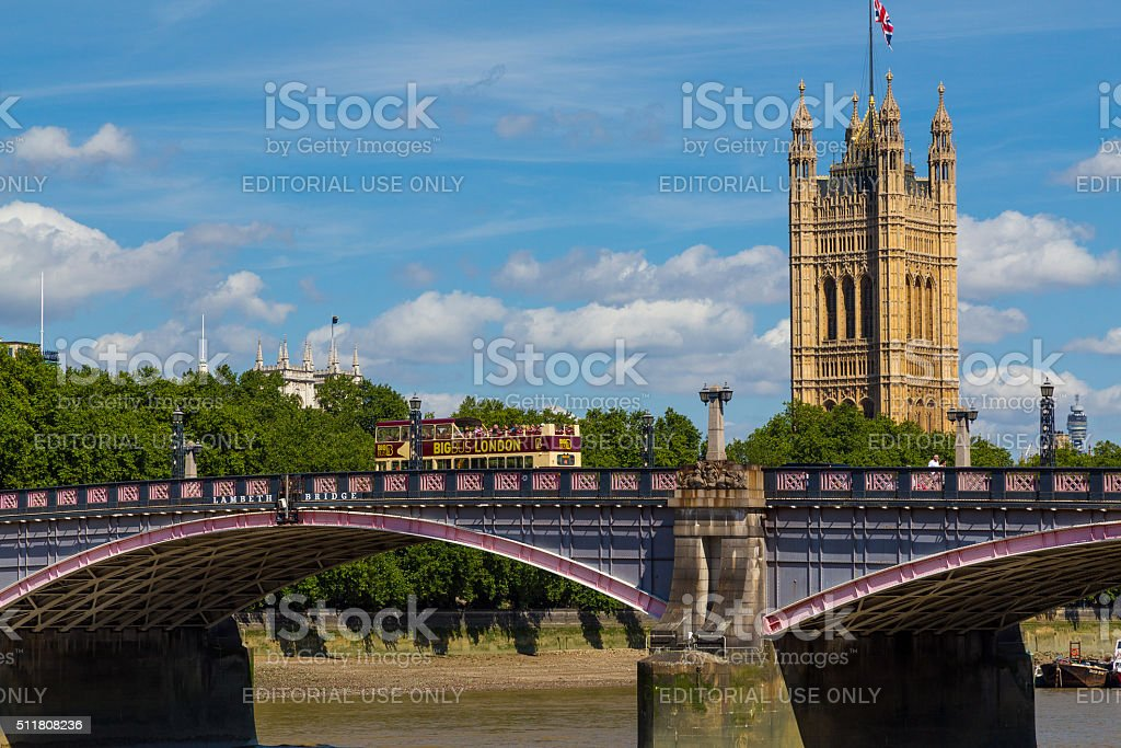 Lambeth Bridge, Westminster and Tour Bus in the Summer stock photo