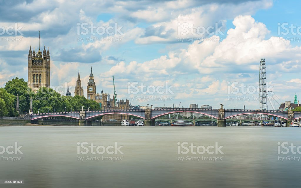 Lambeth bridge with the Palace of Westminster and London Eye stock photo