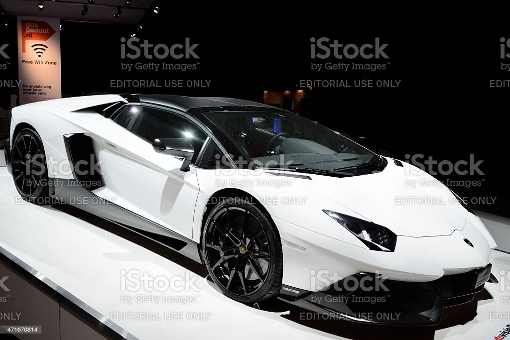 Lamborghini Aventador sports car stock photo