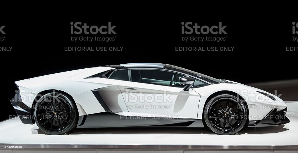 Lamborghini Aventador sports car side view stock photo