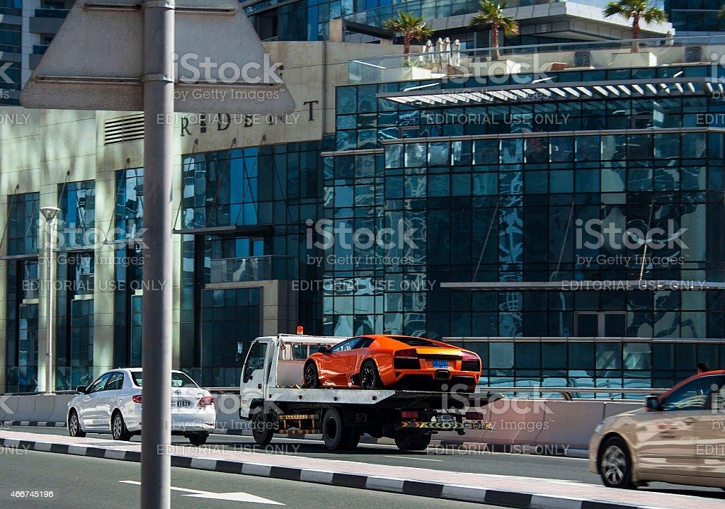 Lamborghini evacuation stock photo