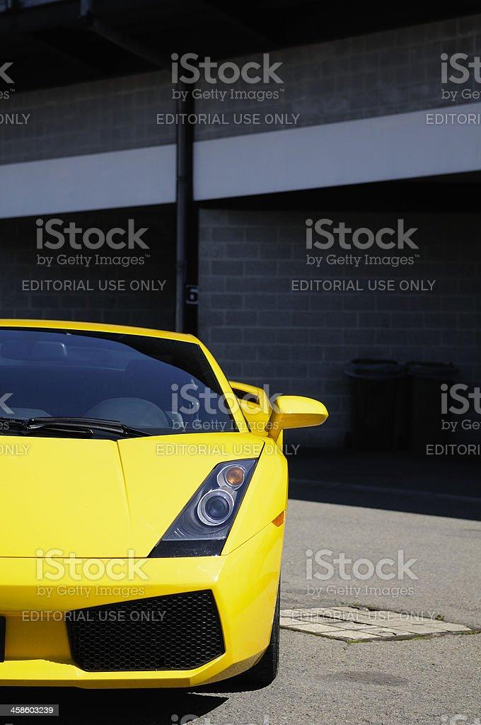 Lamborghini Gallardo Italian sports car in the paddock at Spa stock photo
