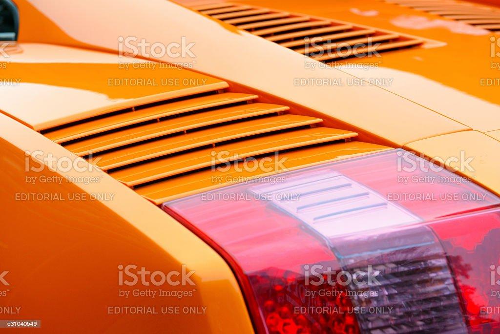 Lamborghini Gallardo Italian sports car rear detail stock photo