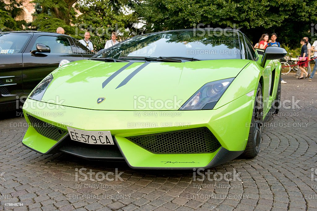 Lamborghini Gallardo Spyder in an Italian Piazza. stock photo