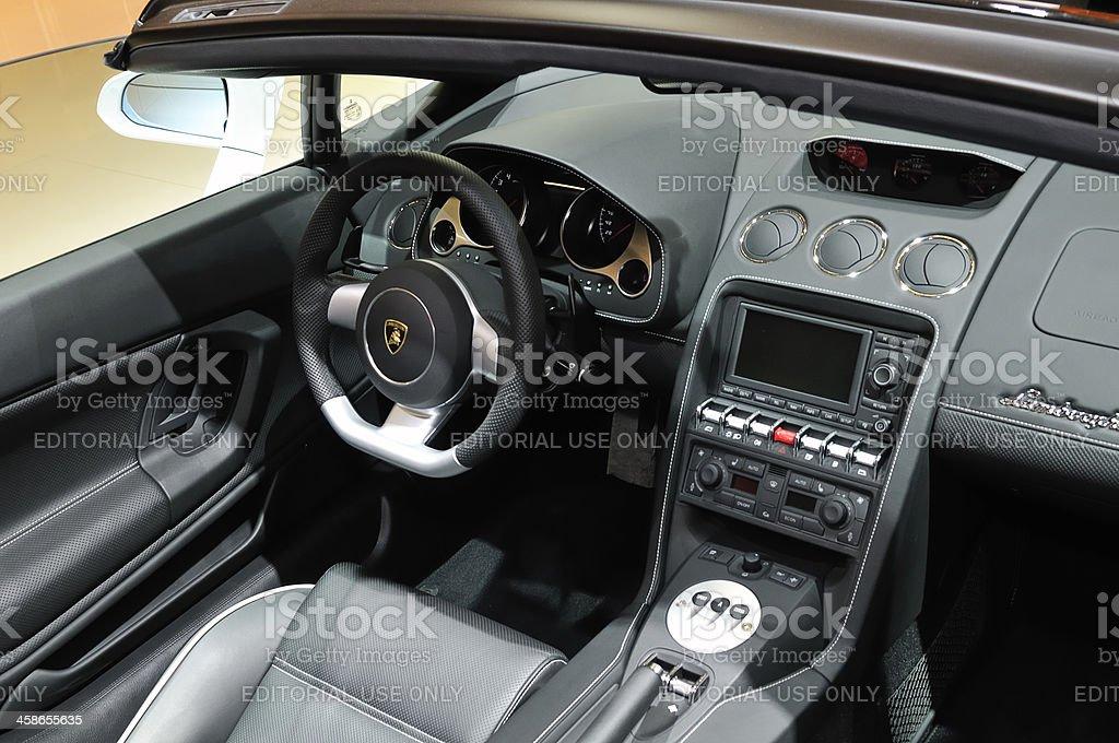Lamborghini Gallardo Spyder open sports car interior stock photo