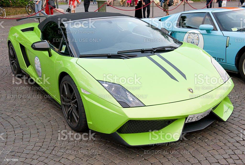 Lamborghini Gallardo Spyder parked in Italy. stock photo