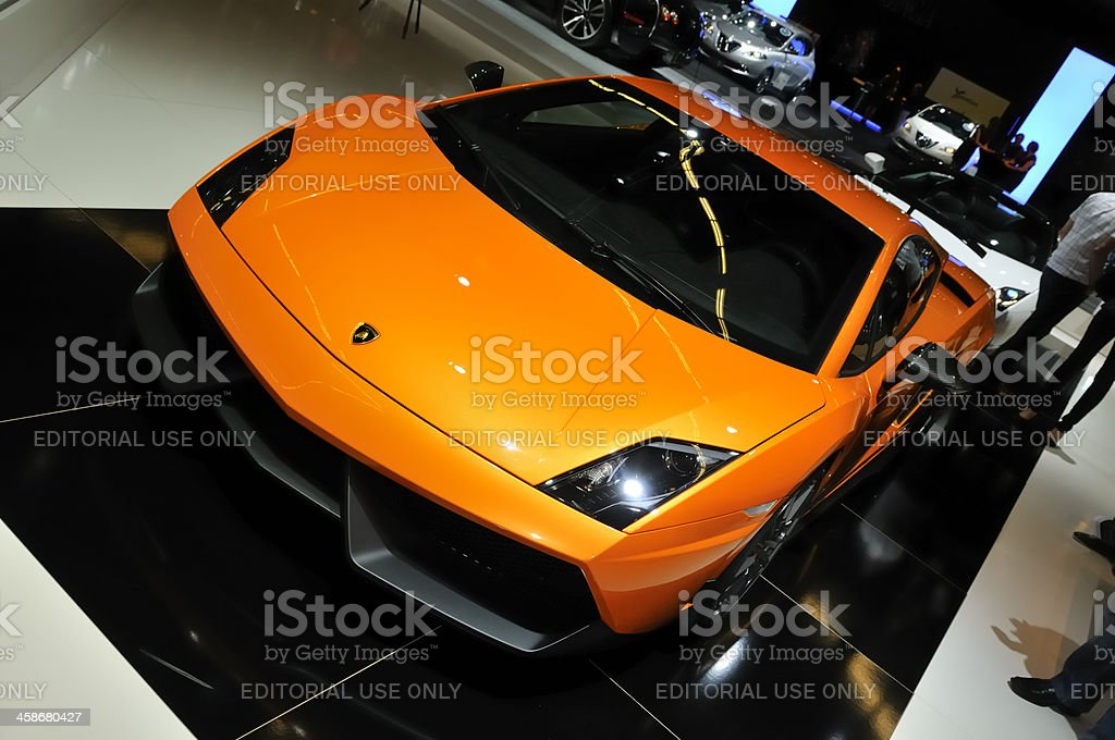 Lamborghini Gallardo Superleggera sports car front view stock photo