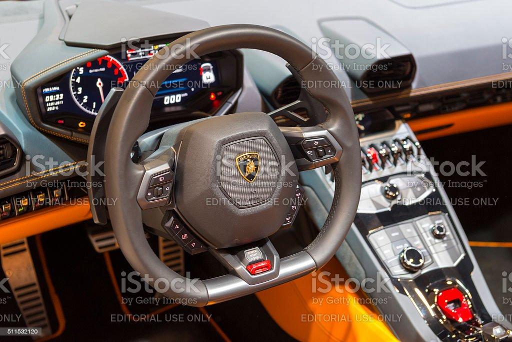 Lamborghini Huracan LP 610-4 Spyder sports car dashboard stock photo