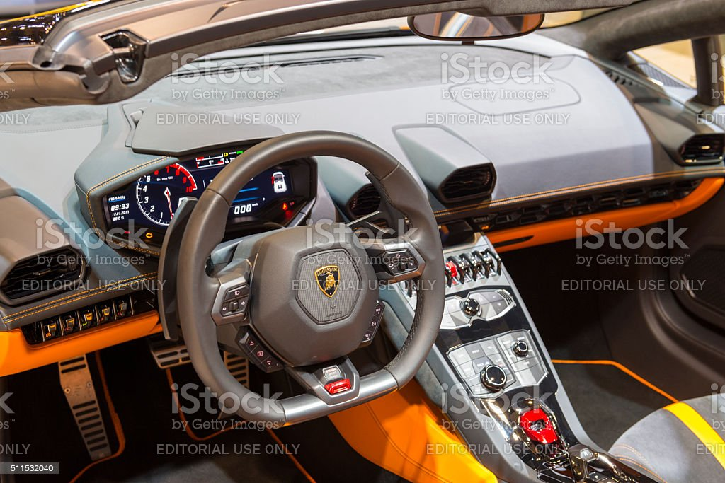 lamborghini huracan lp 610 4 spyder sports car interior royalty free stock photo - Lamborghini Huracan Orange Interior