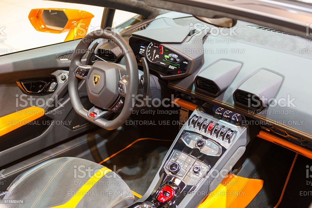 Lamborghini Huracan LP 610-4 Spyder sports car interior stock photo