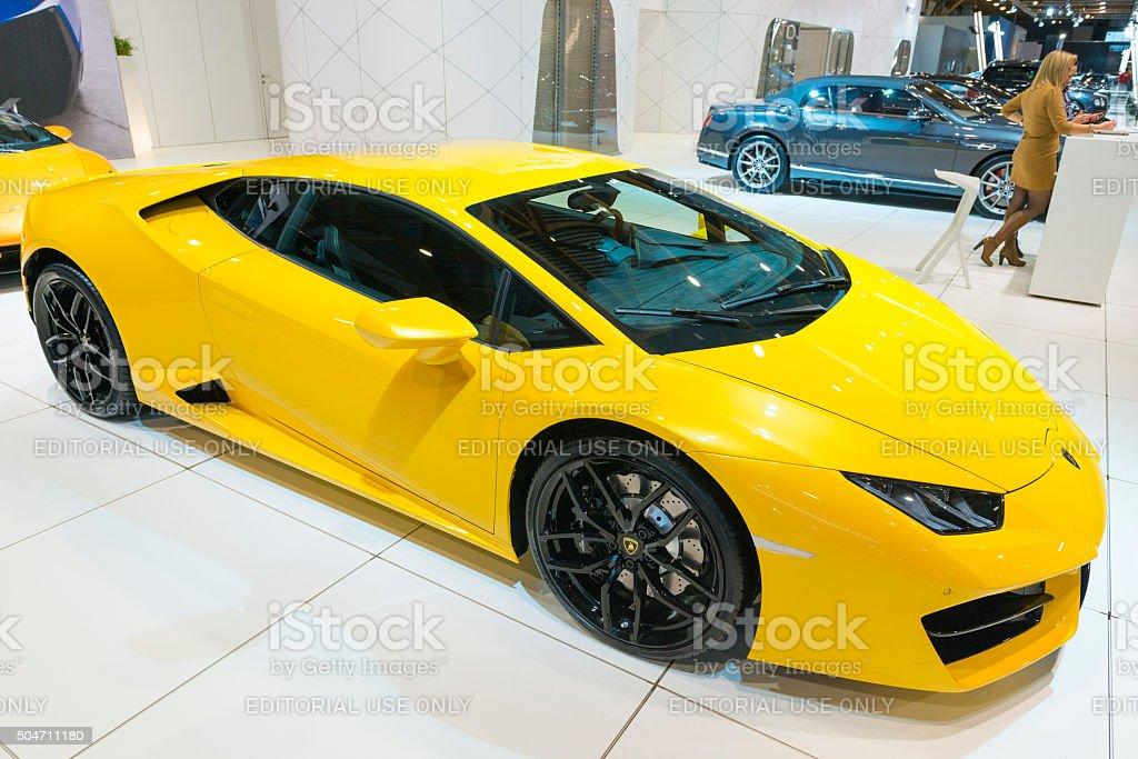 Lamborghini Huracan sports car front view stock photo