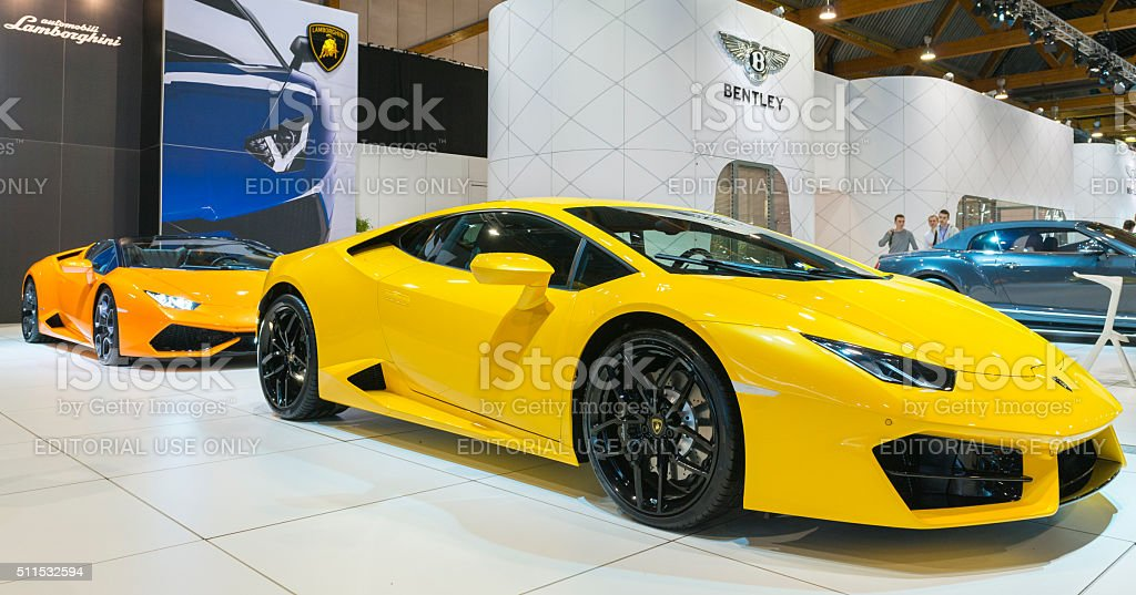 Lamborghini Huracan sports car front view stock photo