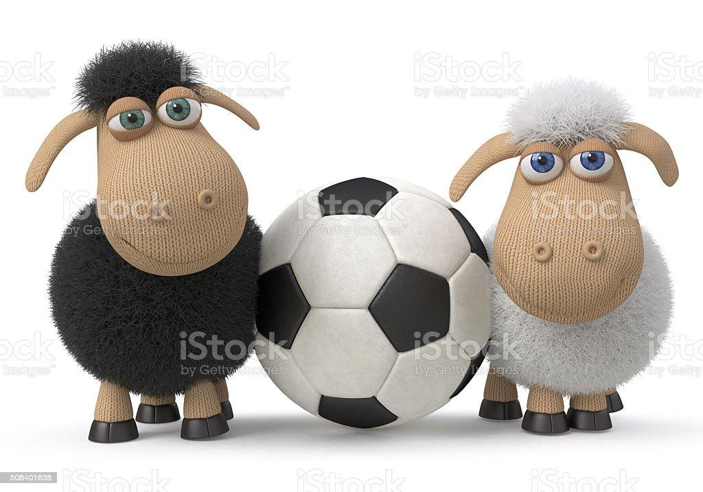 Lambs football players stock photo