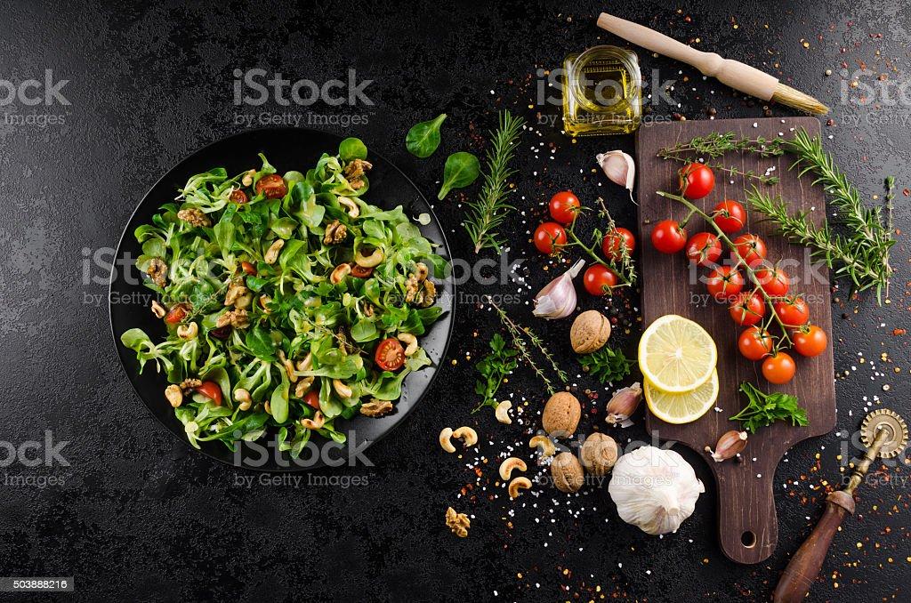 Lamb's lettuce salad stock photo