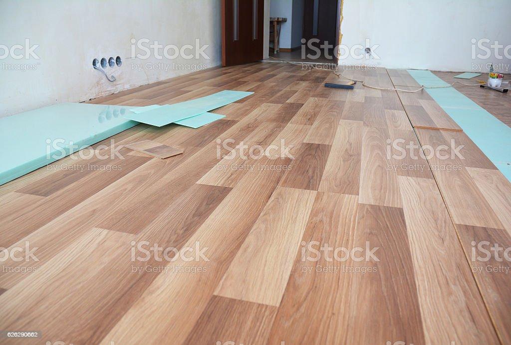 Laminate flooring interior. Installing laminate flooring. stock photo