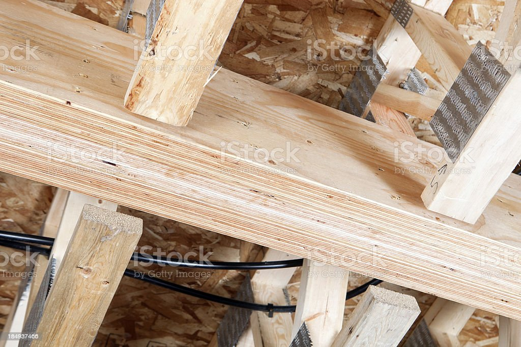 Laminated Veneer Lumber (LVL) House Floor Beam with Trusses stock photo