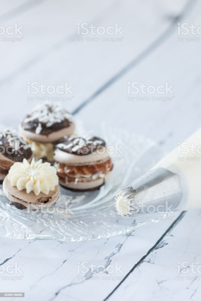 Lamington Macaron stock photo