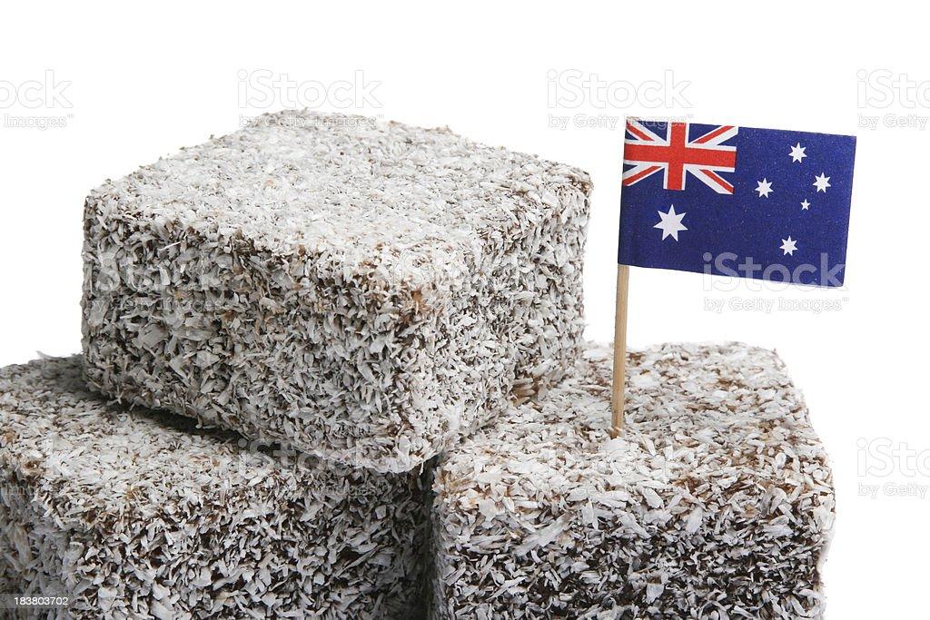 Lamingtons with Australian Flag stock photo
