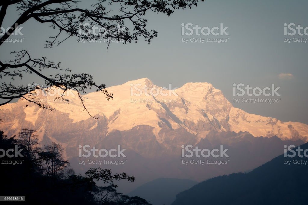 Lamjung Himal view from Annapurna Circuit stock photo