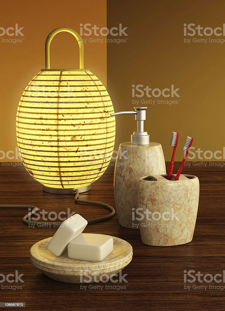 lamp and bathroom accessories stock photo
