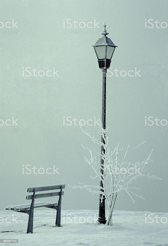 Lamp and Bench royalty-free stock photo