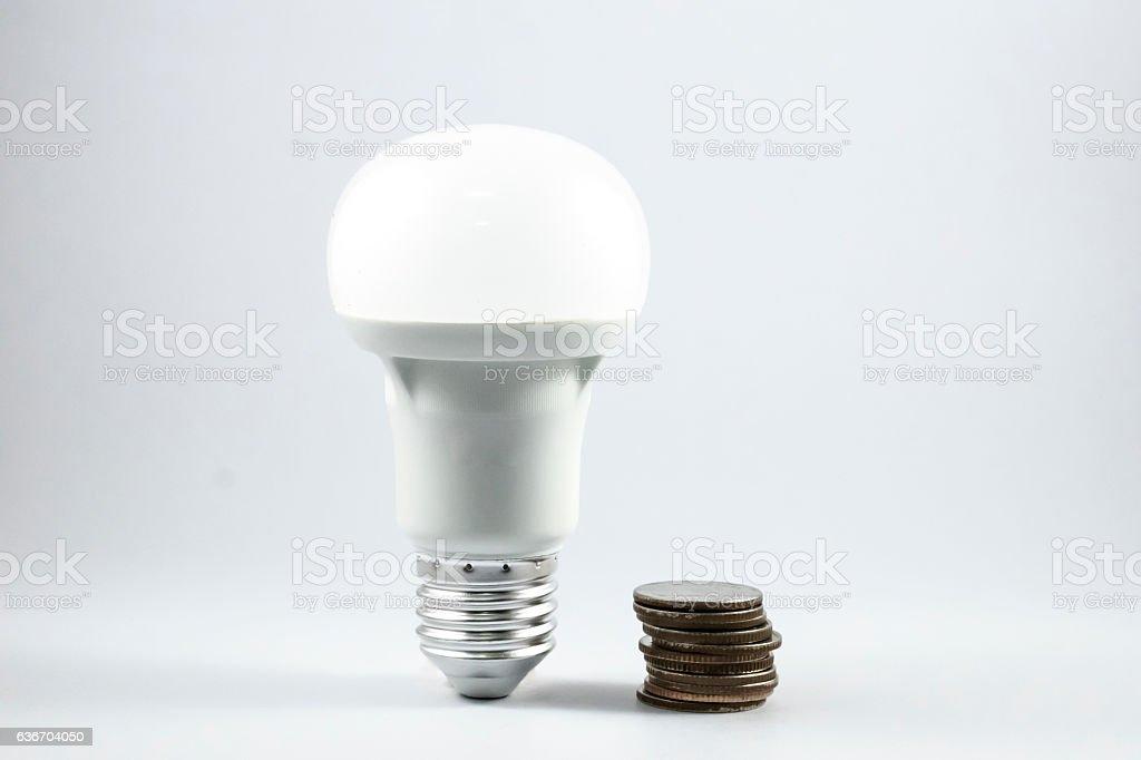 LED lamp and money. stock photo