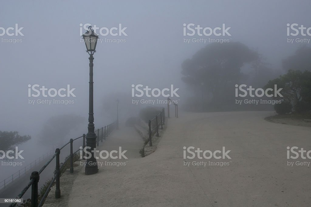 Lamp and Morning Mist in Erice stock photo