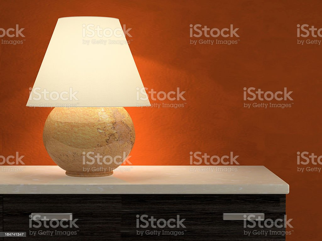 Lamp and red wall 3D rendering vector art illustration