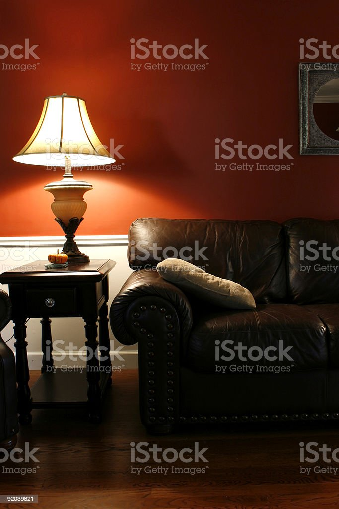 Lamp and the Couch - Vertical Shot royalty-free stock photo