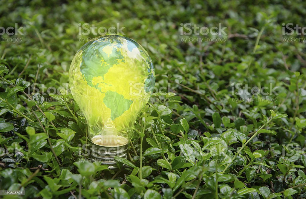 Lamp bright on green nature stock photo