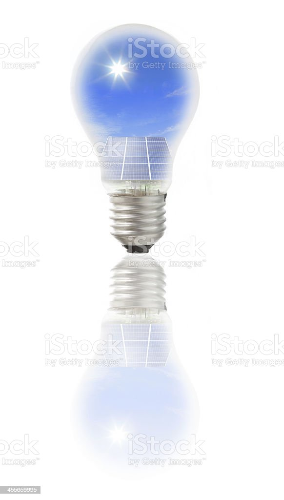 Lamp bulb with solar panel royalty-free stock photo