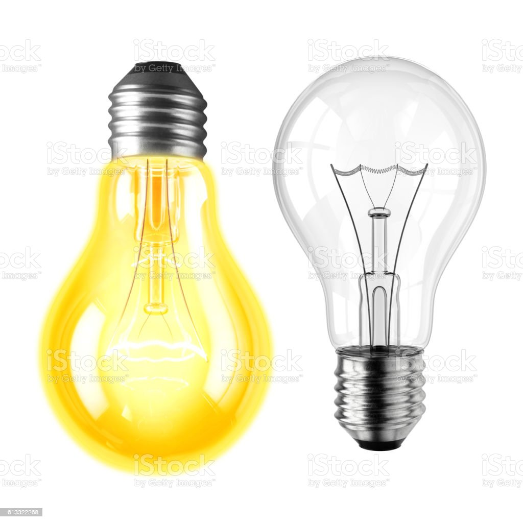 Lamp bulbs. 3D illustration stock photo