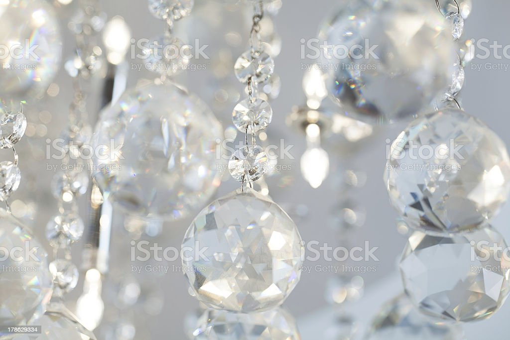 Lamp crystals in light stock photo