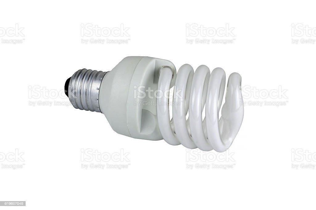 lamp energy saving on white background stock photo
