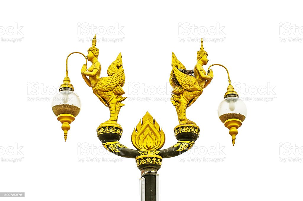 Lamp golden kinnaree statues isolated on white background stock photo