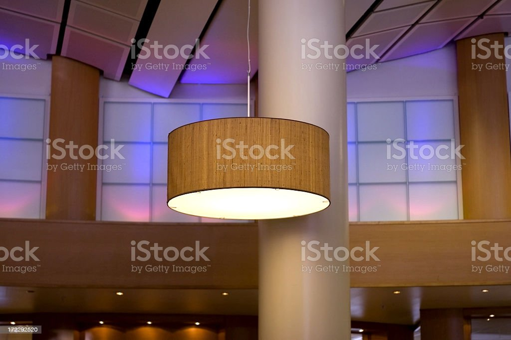 Lamp hanging in modern hotel lobby royalty-free stock photo
