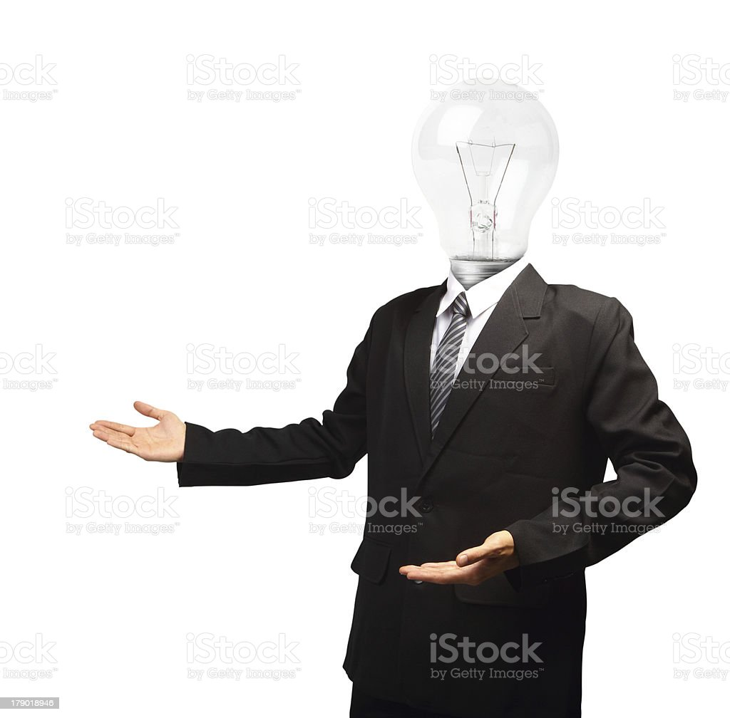 Lamp head businessman open palm hand gesture, isolated on white royalty-free stock photo