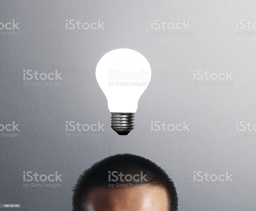 lamp head businessman stock photo