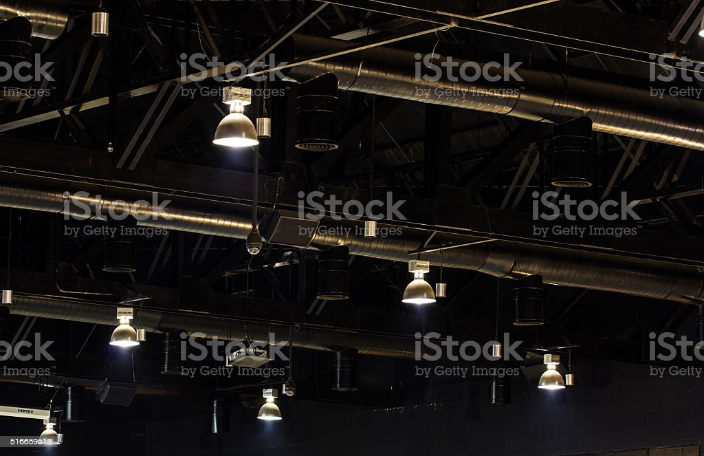 Lamp in hall of warehouse stock photo