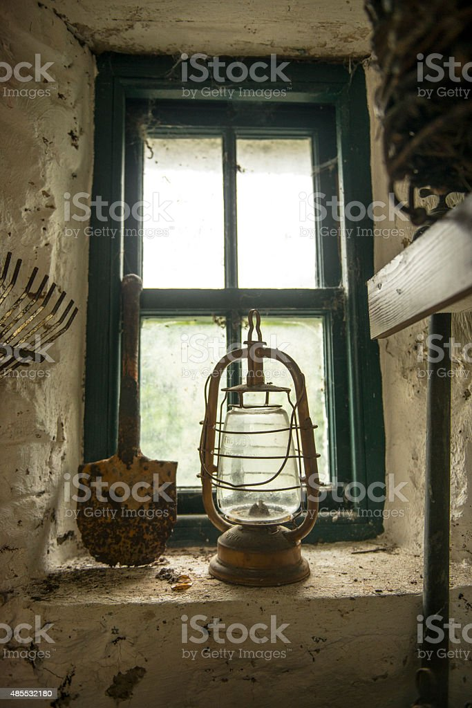 lamp in old building stock photo