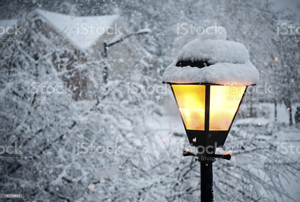 lamp in snow royalty-free stock photo